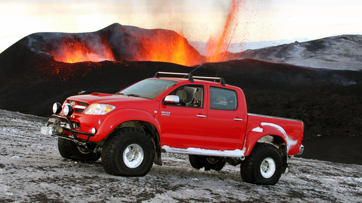 The Hilux doesn't look out of place at the mouth of a live volcano!